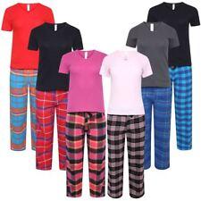 Womens Ladies Flannel Pyjama Set Lounge Top Pants PJs Pajamas Nightwear Gift