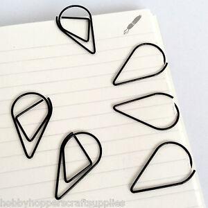 Planner Paperclips Tear Drop Shape Black Paper Clip