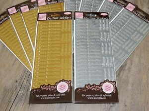 10 Packs of Happy Christmas Anita's Outline Stickers in Gold & Silver.