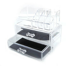 Acrylic Cosmetic Table Organizer Makeup Holder Case Box Jewelry Storage 2 Drawer