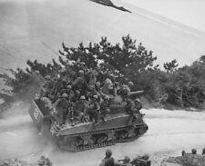 "Marines riding Sherman Tank Ghuta Okinawa 8""x 10"" World War II Photo 309"