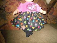 Handmade Bitty Baby Black &Pink Dress w Heart Netting/Socks  D148
