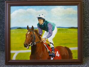 Oil Painting on Canvas of Lester Piggott On Horseback Signed WEJ