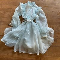 Vintage 70's Girl's Light Blue Sheer Organza Ruffled Party Prairie Dress S/M