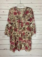 Entro Boutique Women's L Large Pink Floral 3/4 Sleeves Spring Tunic Top Blouse