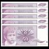 Lot 5 PCS, Yugoslavia 50 Dinara, 1990, P-104, UNC, Banknotes