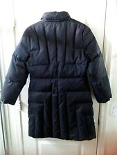 Anne Klein Long Down Puffer Coat w/ hidden hood Black Sz M GUC