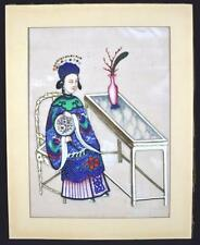 Antique Chinese Rice Paper Painting of a Lady Exceptional Quality