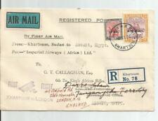 KHARTOUM SUDAN TO EGYPT 1931 REGISTERED IST FLIGHT COVER FWD TO ENGLAND