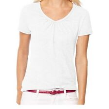 Faded Glory Women's SS Shirred V-neck White Tee Shirt Size XXL (20-22)