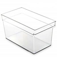 Clear Plastic Storage Bin with Built-In Pull Out Handle - (Deep, Large)
