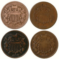 Raw 4 Pack 1864 1865 1867 1868 Two Cent 2C US Minted Copper Coin Lot
