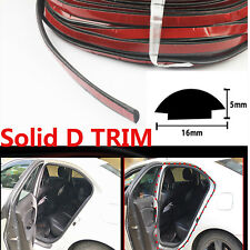 D Shape Solid Rubber Strip Seal Edge Trim Car Van Door Edge Guards Soundproof 5M