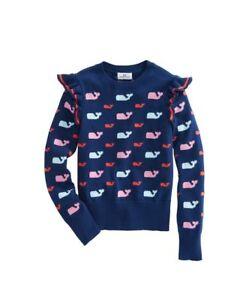 Vineyard Vines M 10 12 Girls Allover Whale Ruffle Sweater Fairisle Deep Bay Blue