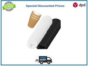 Disposable Coffee cup lids Sip Through Black White 80mm 90mm Lids 8oz 12oz 16oz
