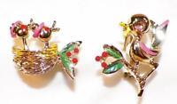 2 Scatter Pins Momma Bird & Babies in Nest Goldtone Metal Enamel Vintage