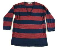 Madewell Womens Blue Red Striped Long Sleeve V-Neck Shirt Size XS