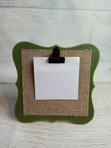 """New! Moss GREEN Farmhouse Style 7.75"""" Picture Frame 4x4 Photo Wood Clip Burlap"""