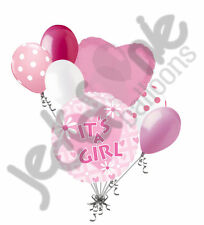 7 pc It's a Girl Pink Daisy Balloon Bouquet Decoration Baby Shower Welcome Home