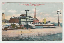 "[45686] 1908 POSTCARD FIRE BOAT ""NEW YORKER"" AT THE BATTERY, NEW YORK CITY"