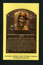 Ted Williams PERSONAL COLLECTION Williams Yellow Hall Of Fame Plaque Post Card