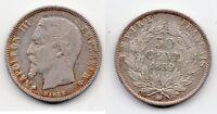 TOP RARE MONNAIE 1/2 FRANC NAPOLEON III TETE NUE ARGENT DE 1859 BB @ QUALITE TOP
