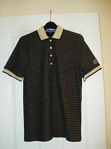 SM Lyle & Scott Official Open Championship Checked Golf Polo Shirt Pearl Buttons