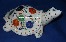 Marble Turtle Sea Swimming Religious Pietradura Floral Art inlay Work Decor Gift