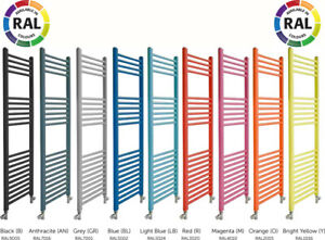 Coloured Heated Towel Rails Various Ral Colours and Sizes, Gloss Finish