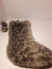 Christmas Stocking - Brown, Gray, and White Shaggy Faux Soft Furry Fur Stocking