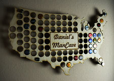 USA Beer Cap Map Display Holder with Custom Personalized Engraving