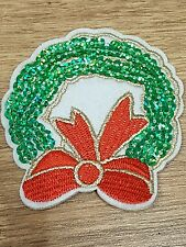 xmas wreath SANTA CLAUS merry christmas hotfix  Applique Motif Patch sequin