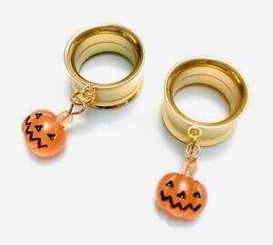 Halloween Orange Pumpkin Gold Screw-Fit Dangle Flesh Tunnel Ear Plug 6mm - 25mm