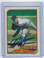 1989 BREWERS Ted Higuera signed card Topps #595 AUTO Autographed Milwaukee