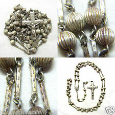 "† SCARCE HTF ANTIQUE STERLING ETCHED LINKS & RIDGED ROSARY 29 1/2"" NECKLACE †"