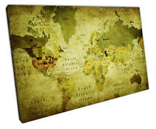 RETRO GREEN VINTAGE WORLD MAP CANVAS WALL ART PICTURE LARGE 75 X 50 CM