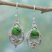 Rétro 925 argent Turquoise femmes balancent crochet boucles d'oreilles cadeau