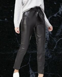 V By Very Faux Leather Paperbag Slim Leg Trousers Black Size 16