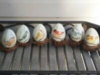 """6 Ceramic Egg w Pastel Painted Birds on nests 3"""" Beautiful Spring Easter decor"""