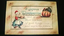 """Antique  """" THANKSGIVING""""  Post Card -   Stamped. 1914"""