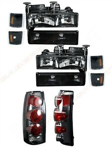 Combo Black Headlights + Taillights for 1994-1999 Chevrolet C/K Full Size