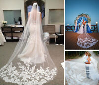 White Ivory Wedding Long Bridal Veil Lace Edge Elegant Cathedral Tulle With Comb