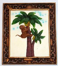 """NEW 8"""" COLORFUL MONKEY IN PALM TREE TROPICAL HANGING WALL PLAQUE PICTURE"""
