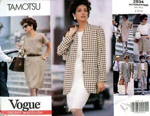 Vintage Vogue Pattern 2834 Misses Ensemble Tamotsu Design  Size 8-12 Uncut