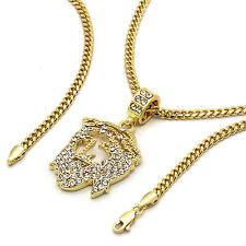 "14k Gold Plated Custom Iced Out HipHop Bling Cz Jesus Pendant w/ 24"" Cuban Chain"