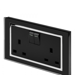 RetroTouch 13 Amp 2 Gang Double Plug Socket Switched Black Glass CT 00661