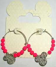 Disney Parks Large Hoop, Pink Balls & Mickey Icon Dangle Earrings (New On Card)