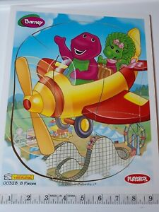 BARNEY AIR PLANE WOOD PUZZLE TOYS ~ vintage dinosaur friend book dvd vhs movie