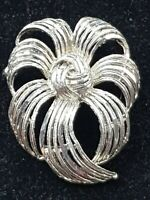 Vintage signed Dorene Ribbon knot Textured Flower Mid Century Modernist Brooch