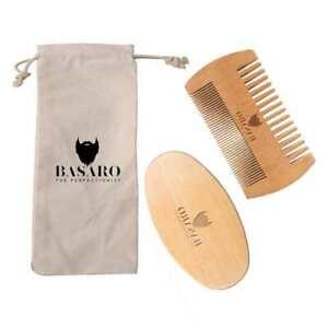 Mens Grooming Kit Boar Bristle Beard Brush & Wood Comb For Men BY BASARO